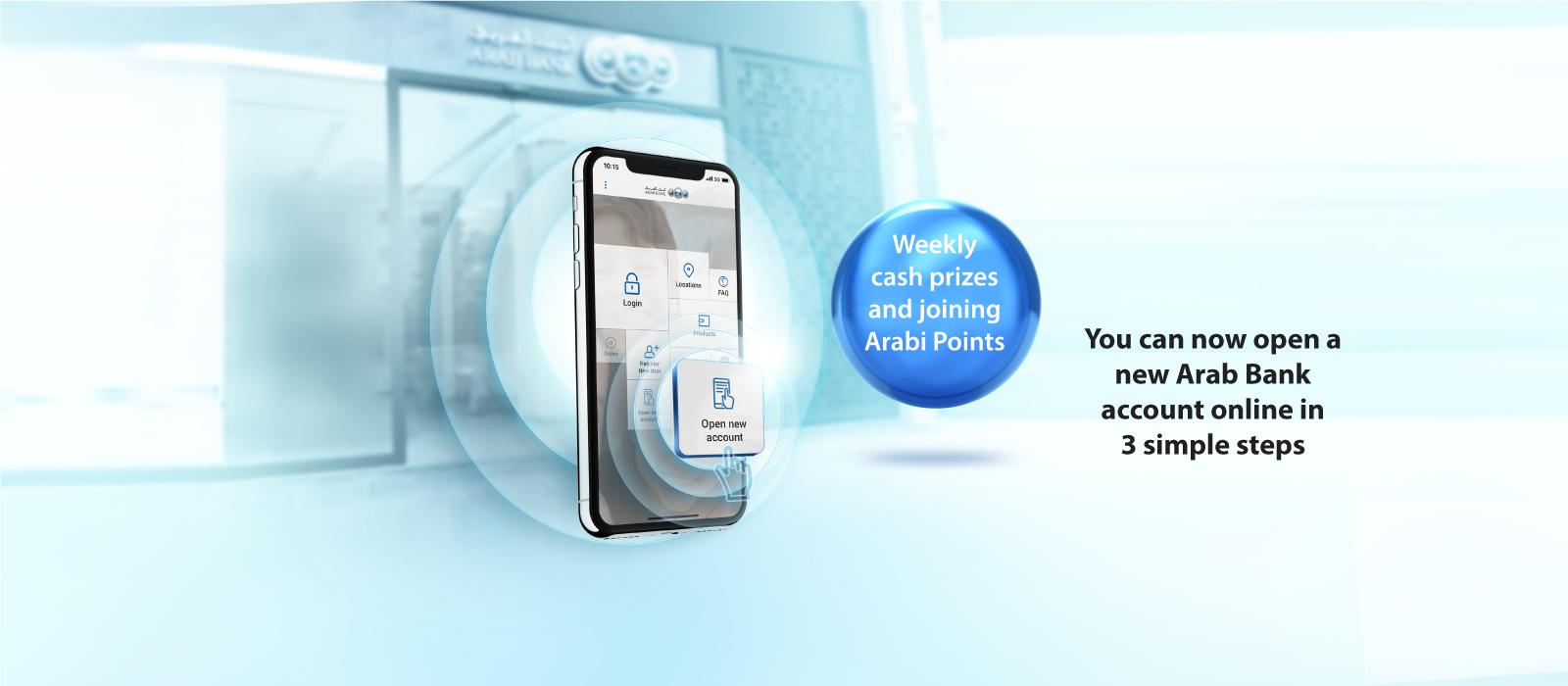 Open a new Arab bank account online maoin banner